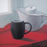 Натюрморт. (Белое, черное, красное). Орг., акрил. 50 х 50 см. 2013
