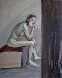 Сидящая натурщица. Орг., акрил. 50 х 40 см. 2011
