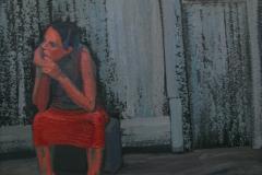 Сидящая в красной юбке. Орг., акрил. 60 х 60 см. 2014