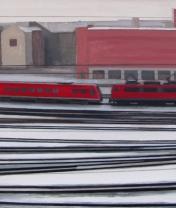 Железная дорога с красным поездом. Холст, акрил. 60 х 120 см. 2012