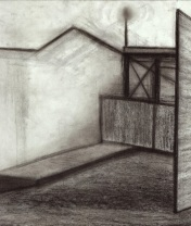 Закрытая зона. Бумага, черный соус. 2017