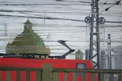 Красный локомотив. Холст, масло. 30 х 30 см. 2009