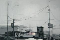 Москва. Троллейбус. Картон, гуашь. 66 х 70 см. 2007