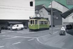 Старый трамвай на улице города. Картон, гуашь. 50 х 100 см. 2009