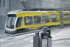 Трамвай.  Холст, масло. 30 х 30 см. 2009