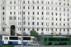 Троллейбусы на Каланчевской улице. Картон, гуашь. 66 х 70 см. 2007