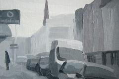 Улица в утренних сумерках. Холст, масло. 30 х 30 см. 2009