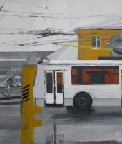 Троллейбусное депо №2. Картон, гуашь. 40 х 80 см. 2007