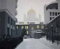 Вид на Храм Христа Спасителя из дворика. Картон, гуашь. 50 х 60 см. 2005