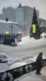 Площадь с рождественской ёлкой. Картон, гуашь. 30 х 60 см. 2005