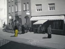 Человек в желтых брюках на Wilhelm-Spät Straße. Картон, гуашь, мат.лак. 60 х 80 см. 2008  Частная коллекция.