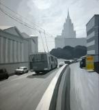Новая Басманная улица. Картон, гуашь. 70 х 66 см. 2006