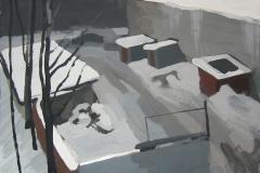 Вид на задний двор. Картон, гуашь. 60 х 60 см. 2005