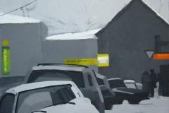 Московский переулок. Частная коллекция. Картон, гуашь. 40 х 40 см. 2006
