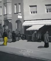 Человек в желтых брюках на Wilhelm-Spät Straße. Картон, гуашь, мат.лак. 60 х 80 см. 2008