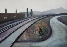 Железнодорожный пейзаж. Холст, масло. 60 х 85 см. 2017