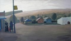 В ожидании автобуса. Холст, акрил. 70 х 120 см. 2012 Музей Е.П. Крикунова. Елец