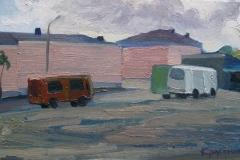 Автобусная площадь. Холст, масло. 20 х 35 см. Елец 2015