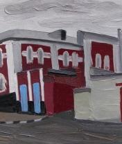 Вид на здание типографии в Ельце. Холст, масло. 20 х 35 см. 2016