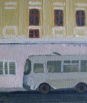 Автобус в Угличе. Частная коллекция. Холст, масло. 15 х 20 см. 2016