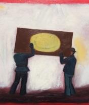 Двое с дверью (2). Холст, масло. 50 х 60 см. 2017