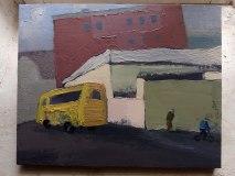 Этюд с желтым автобусом. Х. м., 24 х 30 см. 2019